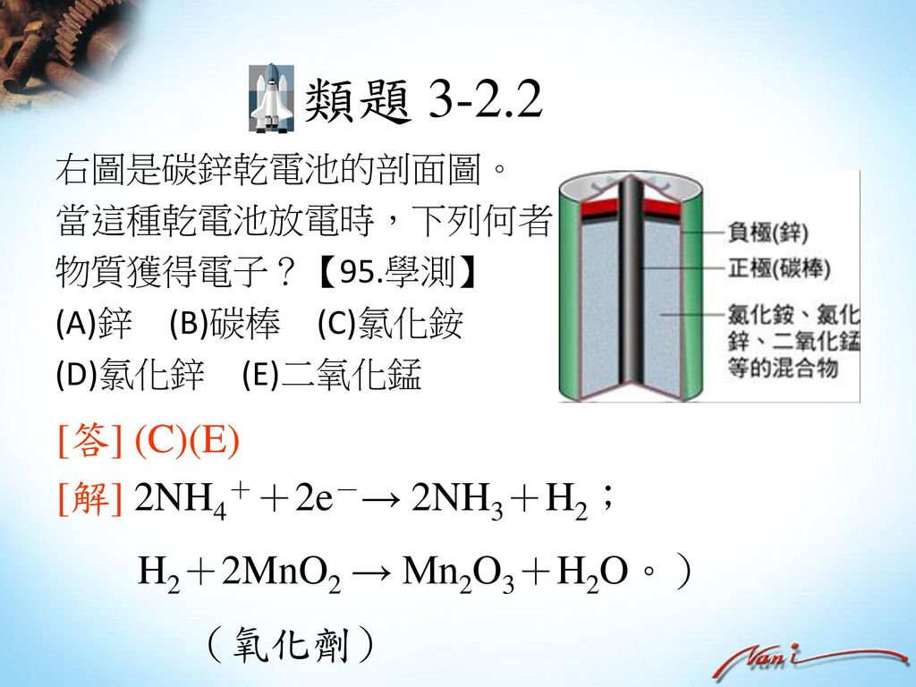 類題 3-2.2 [答] (C)(E) [解] 2NH4++2e-→ 2NH3+H2; H2+2MnO2 → Mn2O3+H2O。)